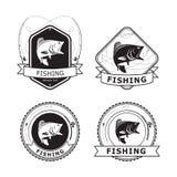 Pesca Bass Label, vettore Fotografie Stock