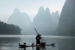 Pesca chinesa do homem com pássaros dos cormorants Fotografia de Stock Royalty Free