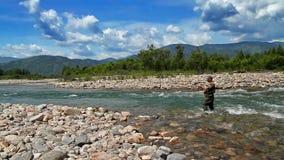 Pesca con el giro almacen de metraje de vídeo