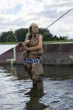 Pesca con la mosca Fotografia Stock