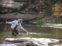 Pesca con la mosca 1 Fotografia Stock