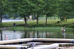 Pesca con la mosca (colata) Immagini Stock