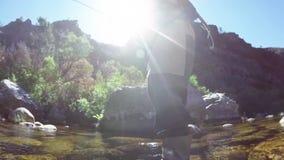 Pesca con la mosca del pescatore in fiume stock footage