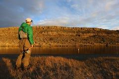 Pesca con la mosca romantica Fotografia Stock Libera da Diritti