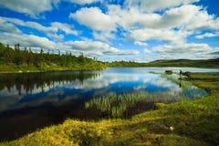 Pesca con la mosca sul lago mountian Immagini Stock