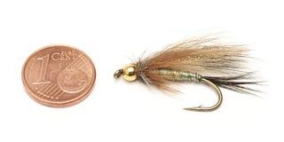 Pesca con mosca, cebo, y un centavo euro para la comparación del tamaño imágenes de archivo libres de regalías
