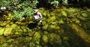 Pesca con mosca del pescador en el río metrajes