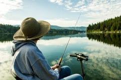 Pesca con una incapacidad Foto de archivo libre de regalías