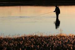 Pesca crepuscolare Fotografie Stock Libere da Diritti