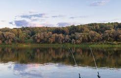 Pesca da caça nas varas de pesca do rio dois na costa da manhã mais adiantada da floresta Foto de Stock