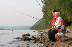 Pesca da família Fotos de Stock Royalty Free