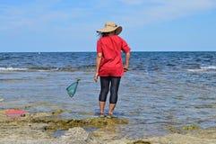 Pesca da mulher com uma rede Imagem de Stock