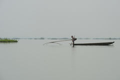 Pesca da mulher no lago com rede Imagens de Stock