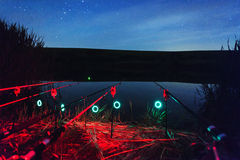 Pesca da noite Fotos de Stock Royalty Free