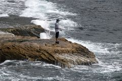 Pesca da rocha perto da praia de Bondi foto de stock royalty free