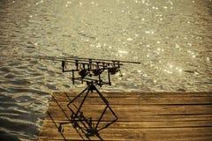 Pesca da rotação, dobrando, peixes de travamento imagem de stock