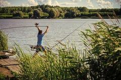 Pesca da rotação, dobrando, peixes de travamento fotos de stock royalty free