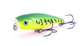 Pesca de amarillo verde del señuelo Fotos de archivo libres de regalías