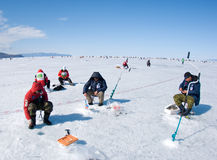 A ?a pesca de Baikal Imagens de Stock