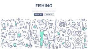 Pesca de concepto del garabato ilustración del vector