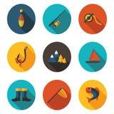Pesca de iconos planos imagen de archivo libre de regalías