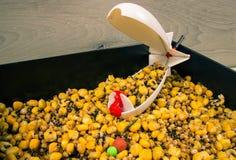Pesca de la carpa del cohete del cebo El método de alimentar cebos que pescan con caña fotografía de archivo libre de regalías