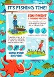 Pesca de la invitación de la competencia con el pescador y los trastos ilustración del vector
