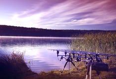 Pesca de la mañana Imagen de archivo libre de regalías
