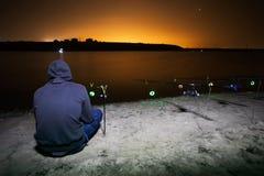 Pesca de la noche Imagen de archivo libre de regalías