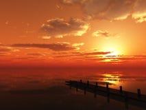 Pesca de la puesta del sol Fotografía de archivo libre de regalías