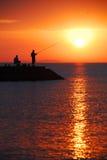 Pesca de la salida del sol imagen de archivo libre de regalías