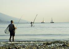 Pesca de lago Garda foto de archivo