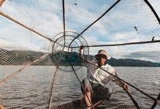 Pesca de lago Inle Imagem de Stock Royalty Free