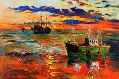Pesca de las naves stock de ilustración