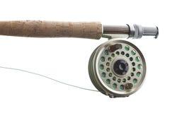 Pesca de mosca en blanco Imagenes de archivo