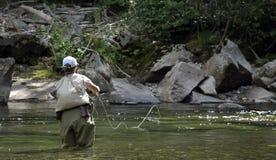 Pesca de mosca en Montana - moviendo de un tirón Fotografía de archivo
