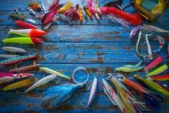 Pesca de piscardos de la colección de los trastos de los señuelos fotografía de archivo libre de regalías