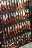 Pesca de señuelos en la exhibición fotografía de archivo