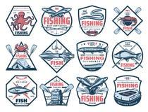 Pesca de trastos de la captura de los iconos, de los pescados y de los mariscos libre illustration
