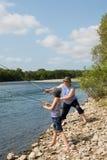 Pesca del abuelo y del nieto Fotografía de archivo libre de regalías