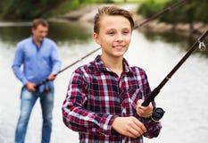 Pesca del adolescente Imágenes de archivo libres de regalías