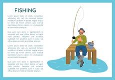 Pesca del cartel con el pescador Vector Illustration ilustración del vector