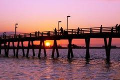 Pesca del embarcadero en la puesta del sol Imagen de archivo libre de regalías