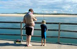 Pesca del figlio & del padre Fotografia Stock