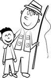 Pesca del figlio e del padre illustrazione vettoriale