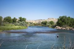Pesca del fiume Arkansas fotografie stock libere da diritti
