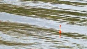 Pesca del flotador en superficie del agua del lago almacen de metraje de vídeo