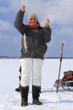 Pesca del ghiaccio. fotografia stock
