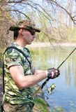Pesca del giovane Fotografie Stock