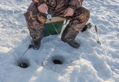Pesca del hielo. fotografía de archivo libre de regalías